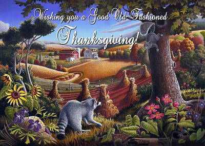Shock Painting - no6 Wishing you a Good Old Fashioned Thanksgiving by Walt Curlee