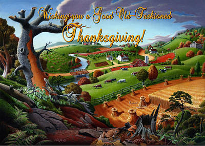 no9 Wishing you a Good Old Fashioned Thanksgiving Original by Walt Curlee