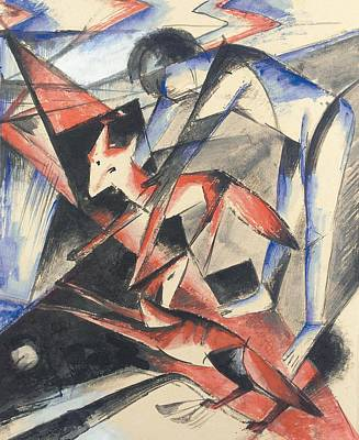 Red Abstract Painting - Noah And The Fox by Franz Marc