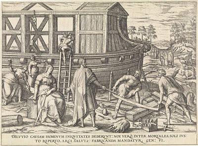Noahs Ark Drawing - Noah Build The Ark, Attributed To Symon Novelanus by Symon Novelanus
