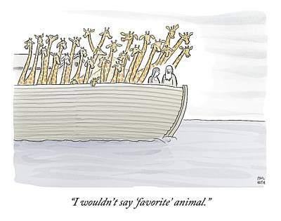 Ark Drawing - Noah In The Ark With All Giraffes by Paul Noth