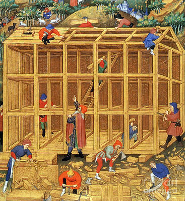 Noahs Ark Construction, 15th Century Art Print by Photo Researchers