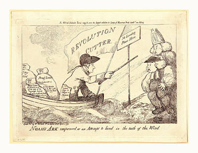 Noahs Ark Improved, Or An Attempt To Land In The Teeth Print by Litz Collection