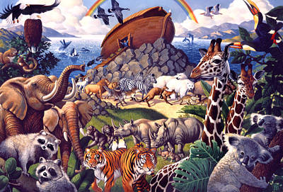 Animals Paintings - Noahs Ark by Mia Tavonatti