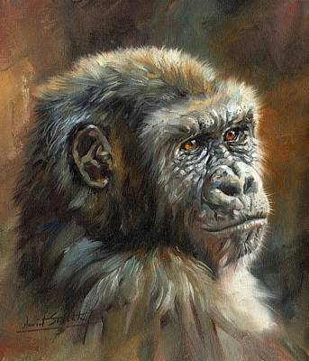 Gorilla Painting - Noble Ape by David Stribbling