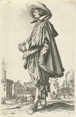 Noble Man With Hat, Seen On The Left, Jacques Callot Art Print