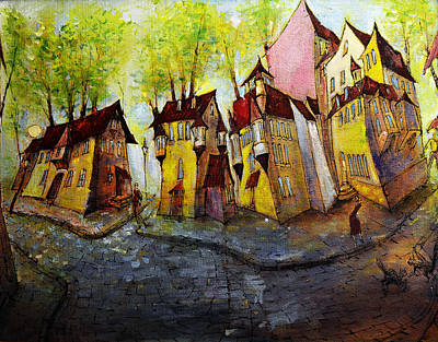 Painting - Nobody Knows That My House Flies by Oleg  Poberezhnyi