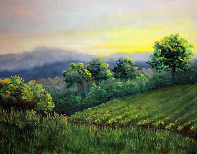Pastel - Noboleis Vineyard Sunrise by Lorraine McFarland