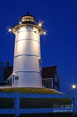 Photograph - Nobska Light And The Beaver Moon by Butch Lombardi