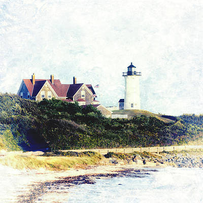 Mixed Media - Nobska Lighthouse Cape Cod Massachusetts Retro Style by Marianne Campolongo
