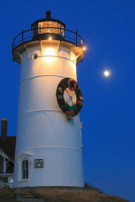Photograph - Nobska Lighthouse Holiday Moon Cape Cod by John Burk