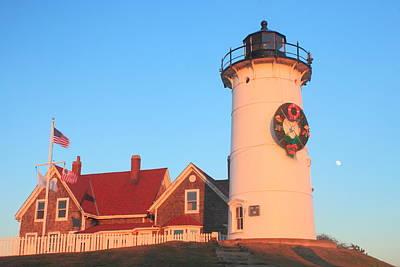 Photograph - Nobska Lighthouse Holiday Wreath And Moon by John Burk