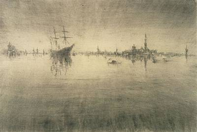 Dock Drawing - Nocturne by James Abbott McNeill Whistler