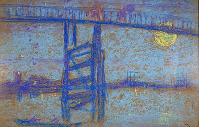 Whistler Drawing - Nocturne. Battersea Bridge by James Abbott McNeill Whistler