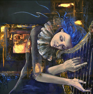 Harp Painting - Nocturne by Dorina  Costras