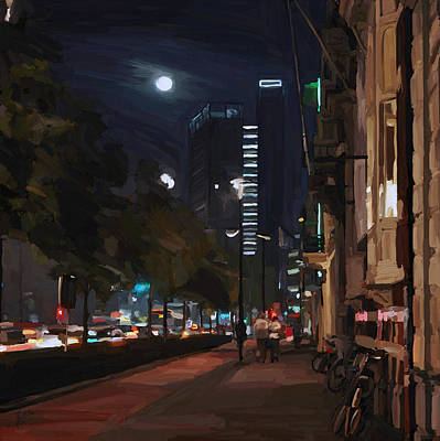 Painting - Nocturne Downtown Tilburg by Nop Briex