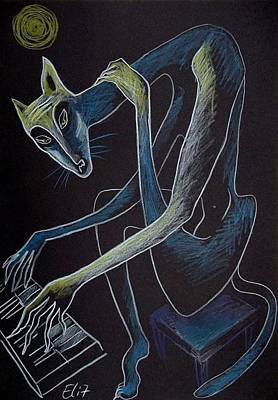 Drawing - Nocturnes. Bestiary-20. Blues by Elisheva Nesis