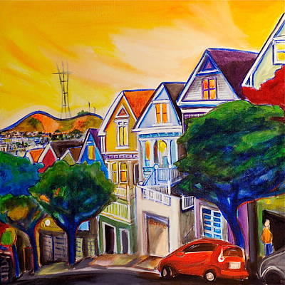 City Sunset Painting - Noe Valley  by Nathalie Fabri