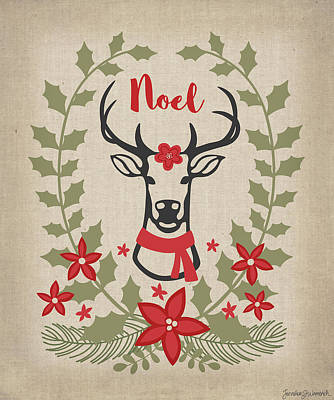 Wreath Painting - Noel Reindeer by Jennifer L. Wambach