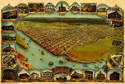 Noes Map Of Eureka California 1902 Art Print by MotionAge Designs