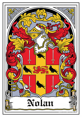 Nolan Coat Of Arms Irish Art Print by Heraldry