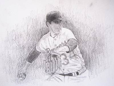 Nolan Ryan Drawing - Nolan Ryan About To Pitch by Michael Penny