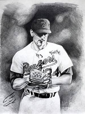 Nolan Ryan Drawing - Nolan Ryan by Caleb Goodman