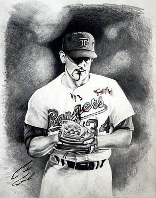 Nolan Ryan Drawing - Nolan Ryan Color Blood by Caleb Goodman