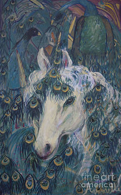 Art Print featuring the painting Nola's Unicorn by Avonelle Kelsey