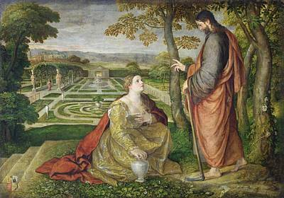 Mary Magdalene Photograph - Noli Me Tangere Oil On Canvas by Lambert Sustris
