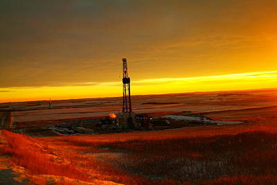 Birds Rights Managed Images - Nomac Drilling Keene North Dakota Royalty-Free Image by Jeff Swan