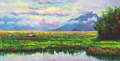 Painting - Nomad - Alaska Landscape With Joe Redington's Boat In Knik Alaska by Talya Johnson
