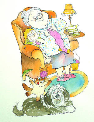Nona Grandma Pen & Ink And Wc On Paper Art Print