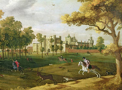 Stag Painting - Nonsuch Palace In The Time Of King by Flemish School
