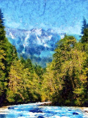 Canoe Digital Art - Nooksack River At Horseshoe Bend by Kaylee Mason