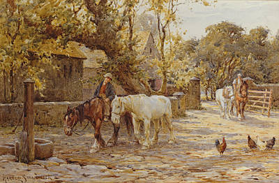 Shire Horse Painting - Noon Day  by Joseph Harold Swanwick