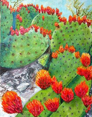 Nopal With Red Flowers  Art Print by Nora Vega