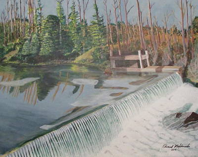 Painting - Nora Mill Waterfall by Edward Maldonado