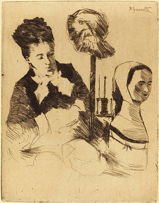 Milliner Drawing - Norbert Goeneutte French, 1854 - 1894, The Milliner La by Quint Lox