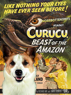 Painting - Norbottenspets - Nordic Spitz Art Canvas Print - Curucu Movie Poster by Sandra Sij