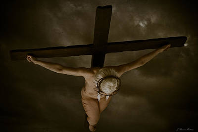 Female Nude Digital Art - Nordic Crucifix by Ramon Martinez