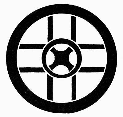 Nordic Symbol Wheel Cross Art Print by Granger