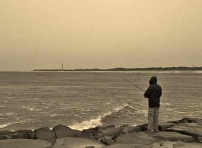 Photograph - Nor'easter Fishing by Ed Sweeney