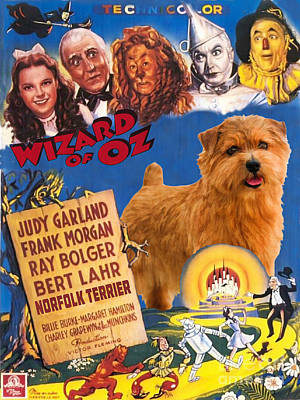 Painting - Norfolk Terrier Art Canvas Print - The Wizard Of Oz Movie Poster by Sandra Sij