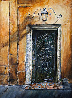 Wall Art - Painting - N'orleans Iron-scroll Door  by Paula Noblitt
