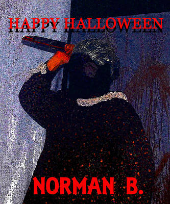 Norman B Halloween Card Art Print by David Lee Thompson