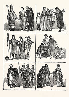 Norman Costumes Of The Eleventh And Twelfth Centuries 1 Art Print by English School
