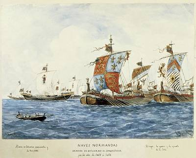 Norman Ships Of William I The Conqueror Art Print by Everett