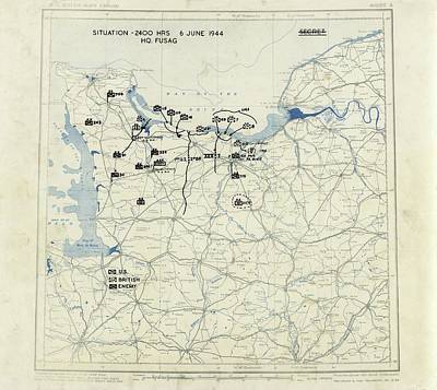 Liberation Photograph - Normandy Campaign Map by Library Of Congress, Geography And Map Division