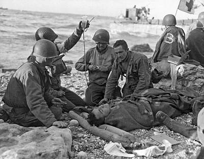 Normandy Invasion Medics Print by Underwood Archives